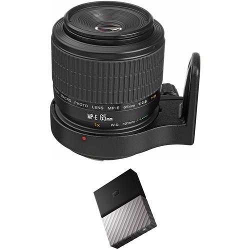 Canon MP-E 65mm f/2.8 1-5x Macro Photo Lens with External Hard Drive Kit