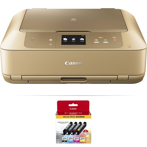 Canon PIXMA MG7720 Wireless All-in-One Inkjet Printer with 4-Cartridge Ink Set Kit (Gold)