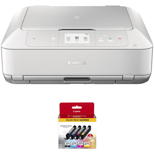 Canon PIXMA MG7720 Wireless All-in-One Inkjet Printer with 4-Cartridge Ink Set Kit (White)