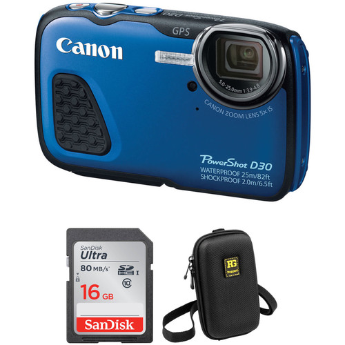 Canon PowerShot D30 Waterproof Digital Camera with Free Accessory Kit (Blue)
