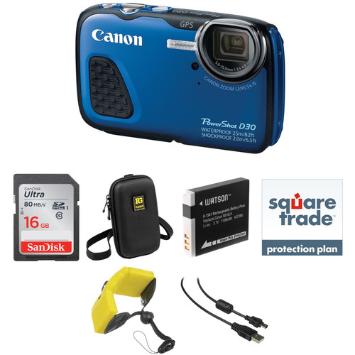 Canon PowerShot D30 Waterproof Digital Camera Deluxe Kit (Blue)