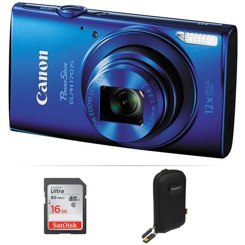 Canon PowerShot ELPH 170 IS Digital Camera Basic Kit (Blue)
