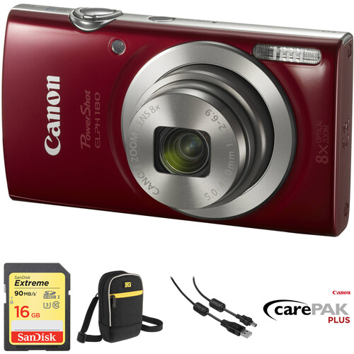 Canon PowerShot ELPH 180 Digital Camera Deluxe Kit (Red)