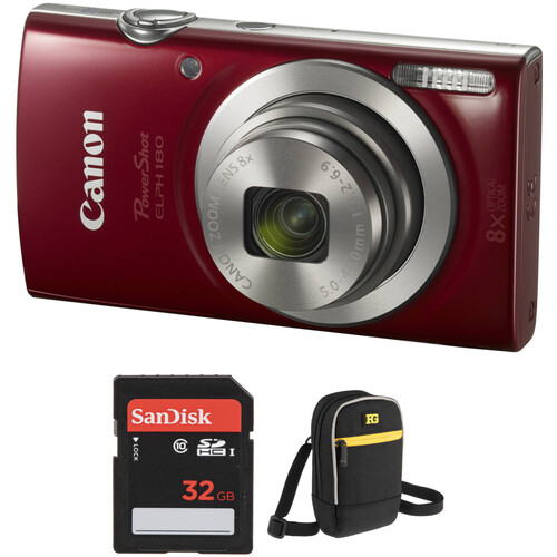 Canon PowerShot ELPH 180 Digital Camera with Accessory Kit (Red)