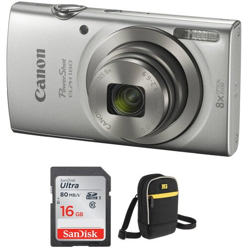 Canon PowerShot ELPH 180 Digital Camera with Accessory Kit (Silver)