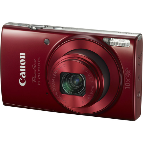 Canon PowerShot ELPH 190 IS Digital Camera Deluxe Kit (Red)