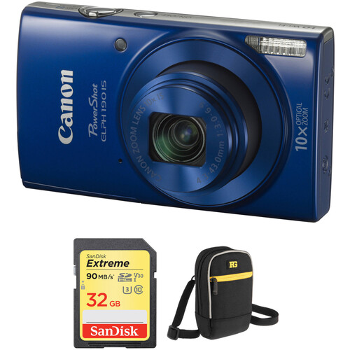 Canon PowerShot ELPH 190 IS Digital Camera with Free Accessory Kit (Blue)