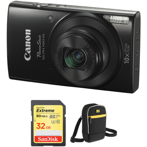 Canon PowerShot ELPH 190 IS Digital Camera with Accessory Kit (Black)