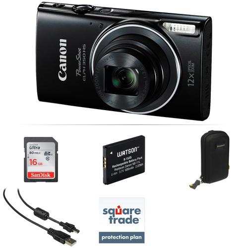 Canon PowerShot ELPH 350 HS Digital Camera Deluxe Kit (Black)