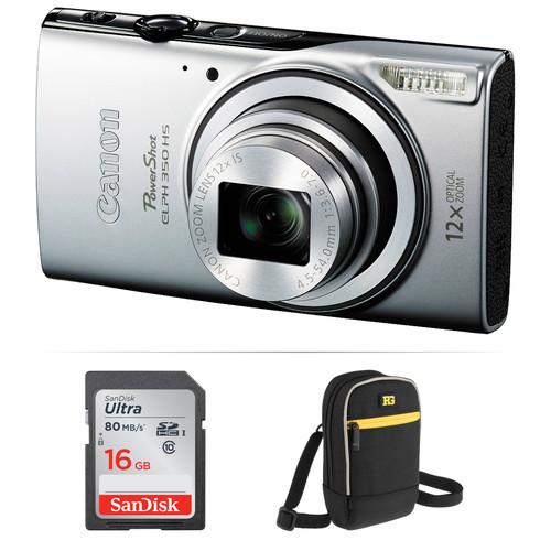 Canon PowerShot ELPH 350 HS Digital Camera Basic Kit (Silver)