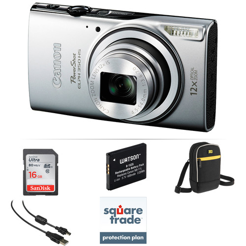Canon PowerShot ELPH 350 HS Digital Camera Deluxe Kit (Silver)