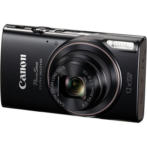 Canon PowerShot ELPH 360 HS Digital Camera Basic Kit (Black)