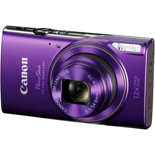 Canon PowerShot ELPH 360 HS Digital Camera Basic Kit (Purple)
