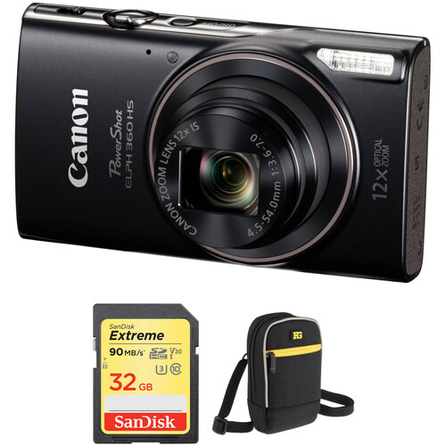 Canon PowerShot ELPH 360 HS Digital Camera with Free Accessory Kit (Black)