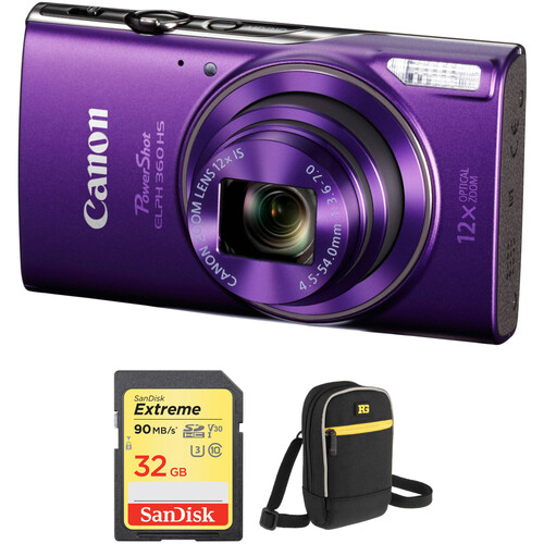 Canon PowerShot ELPH 360 HS Digital Camera with Free Accessory Kit (Purple)
