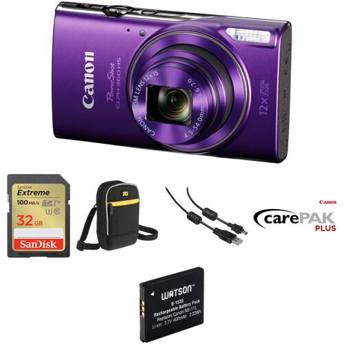 Canon PowerShot ELPH 360 HS Digital Camera Deluxe Kit (Purple)