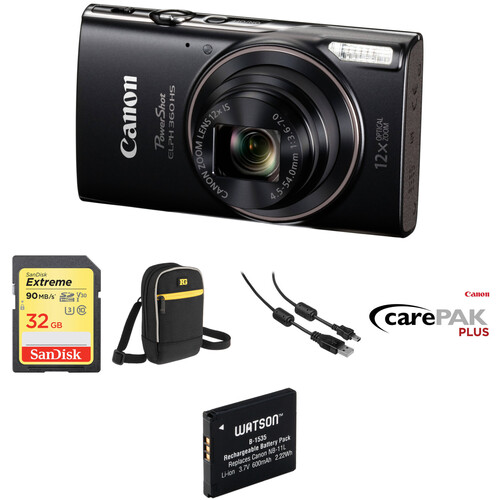 Canon PowerShot ELPH 360 HS Digital Camera Deluxe Kit (Black)