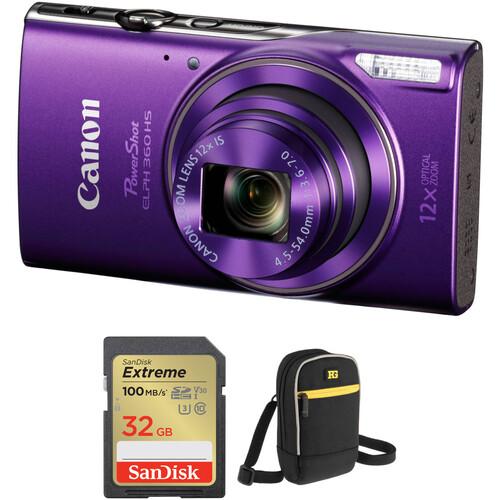 Canon PowerShot ELPH 360 HS Digital Camera with Accessory Kit (Purple)