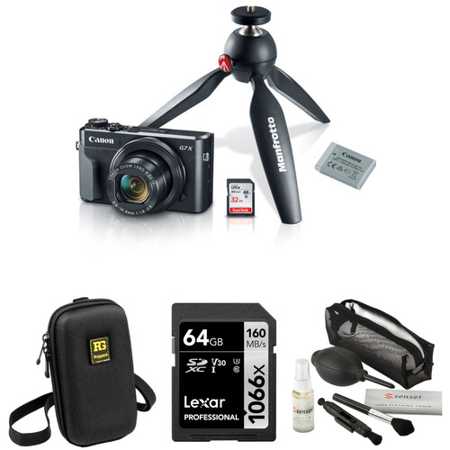Canon PowerShot G7 X Mark II Digital Camera Video Creator Kit with Accessories