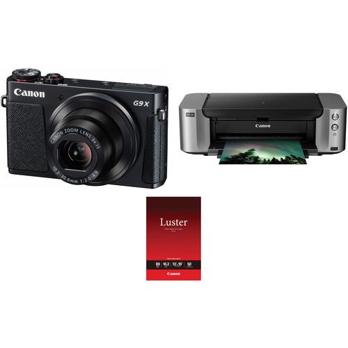 Canon PowerShot G9 X Digital Camera with PIXMA PRO-100 Inkjet Printer Kit (Black)