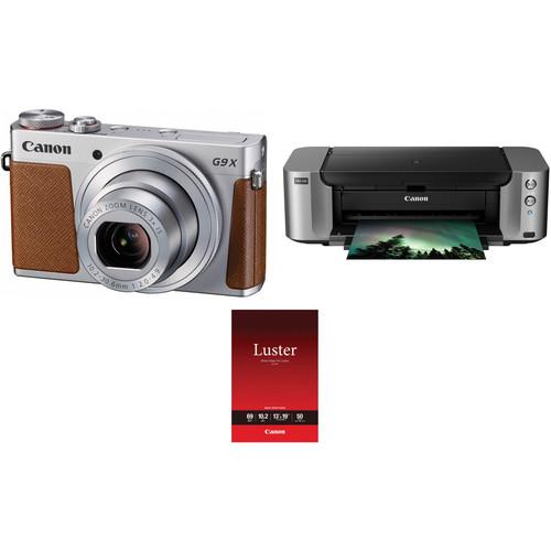 Canon PowerShot G9 X Digital Camera with PIXMA PRO-100 Inkjet Printer Kit (Silver)
