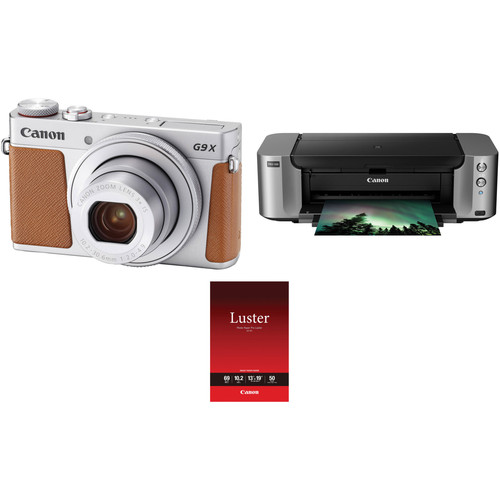Canon PowerShot G9 X Mark II Digital Camera with PIXMA PRO-100 Inkjet Printer Kit (Silver)