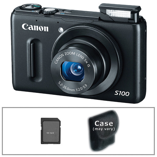 Canon PowerShot S100 Digital Camera with Deluxe Accessory Kit (Black)