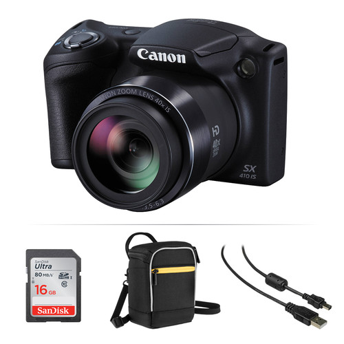 Canon PowerShot SX410 IS Digital Camera Basic Kit (Black)