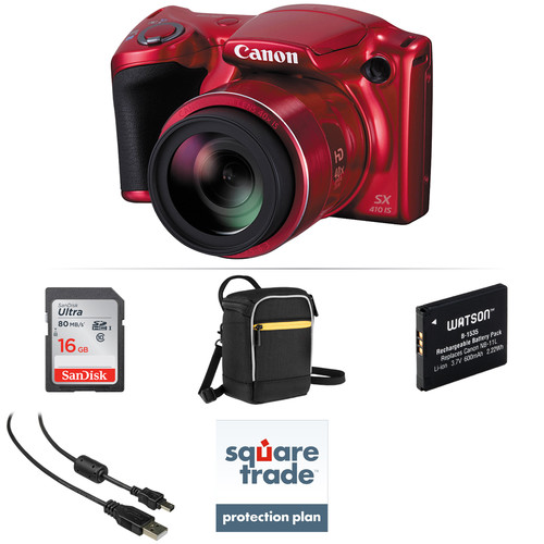 Canon PowerShot SX410 IS Digital Camera Deluxe Kit (Red)