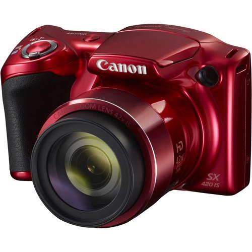 Canon PowerShot SX420 IS Digital Camera Basic Kit (Red)