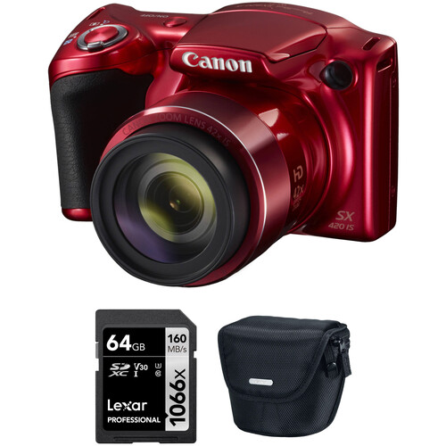 Canon PowerShot SX420 IS Digital Camera with Free Accessory Kit (Red)