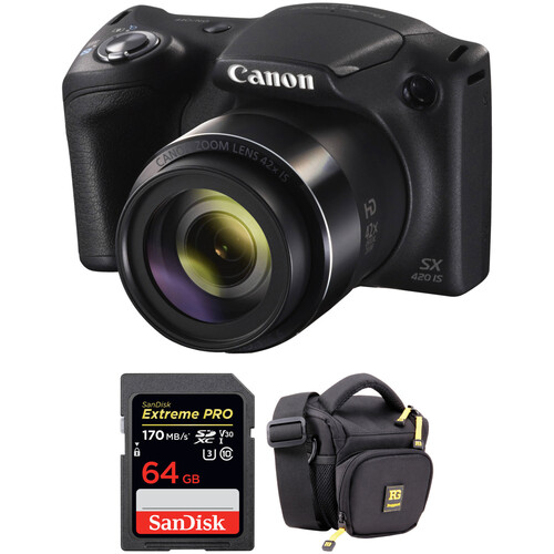 Canon PowerShot SX420 IS Digital Camera with Free Accessory Kit (Black)