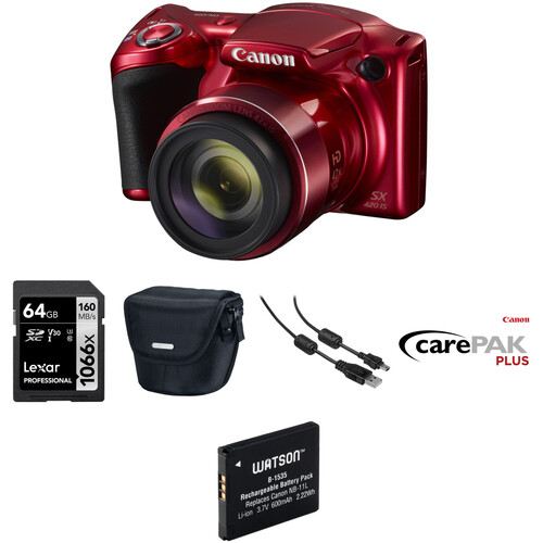 Canon PowerShot SX420 IS Digital Camera Deluxe Kit (Red)