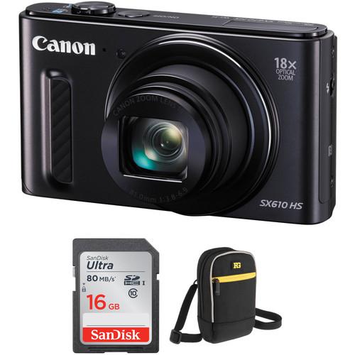 Canon PowerShot SX610 HS Digital Camera with Free Accessory Kit (Black)