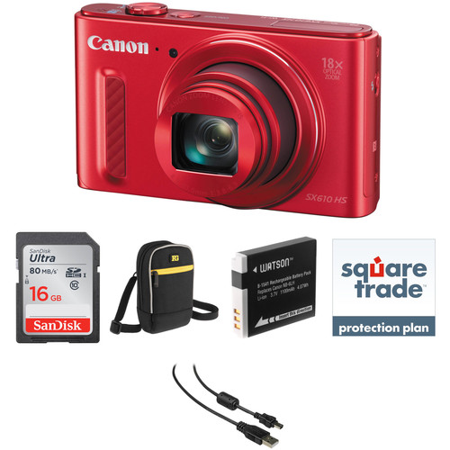 Canon PowerShot SX610 HS Digital Camera Deluxe Kit (Red)