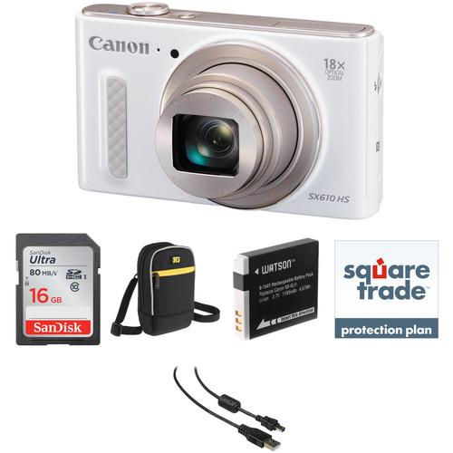 Canon PowerShot SX610 HS Digital Camera Deluxe Kit (White)