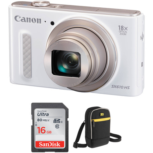 Canon PowerShot SX610 HS Digital Camera with Free Accessory Kit (White)