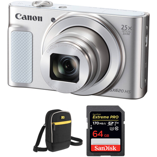 Canon PowerShot SX620 HS Digital Camera with Free Accessory Kit (Silver)