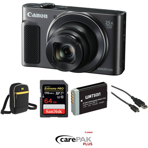 Canon PowerShot SX620 HS Digital Camera Deluxe Kit (Black)