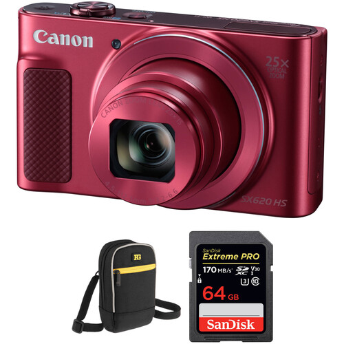 Canon PowerShot SX620 HS Digital Camera with Accessory Kit (Red)