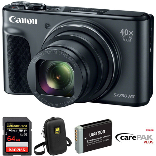 Canon PowerShot SX730 HS Digital Camera Deluxe Kit (Black)