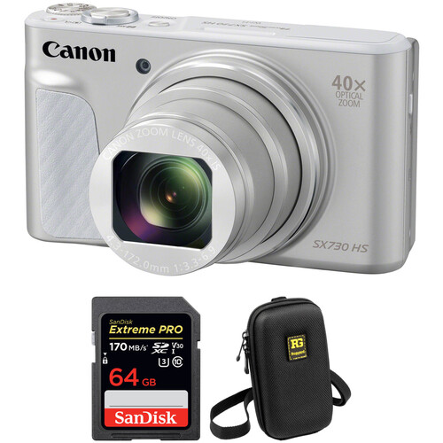 Canon PowerShot SX730 HS Digital Camera with Free Accessory Kit (Silver)