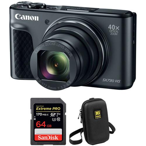 Canon PowerShot SX730 HS Digital Camera with Accessory Kit (Black)