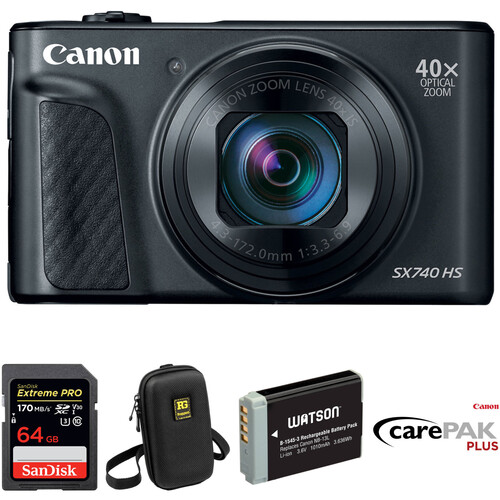 Canon PowerShot SX740 HS Digital Camera Deluxe Kit (Black)