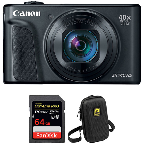 Canon PowerShot SX740 HS Digital Camera with Accessories Kit (Black)