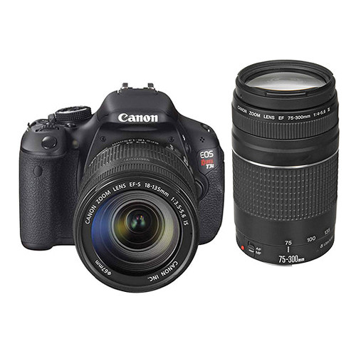 Canon EOS Rebel T3i DSLR Camera with 18-135mm and 75-300mm Lens Kit