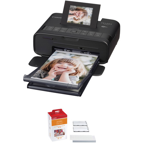 Canon SELPHY CP1200 Wireless Compact Photo Printer with Battery Pack and RP-108 Postcard-Size Paper & Ink Kit (Black)