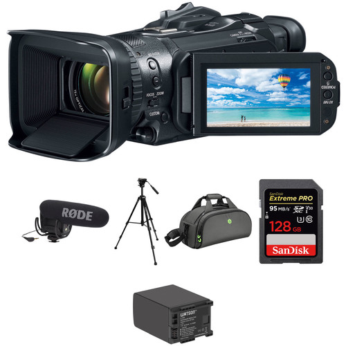 Canon VIXIA GX10 UHD 4K Camcorder Kit with Camera Mounted Mic, Tripod, and Accessories