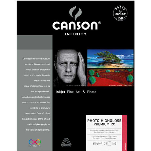 """Canson Infinity Photo HighGloss Premium RC Paper (13 x 19"""", 25 Sheets)"""