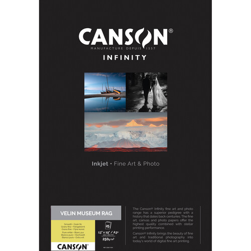"""Canson Infinity Velin Museum Rag Paper (250 gsm, 13 x 19"""", 25 Sheets)"""